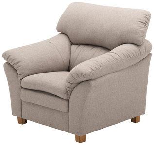 FÅTÖLJ - sandfärgad/ekfärgad, Modern, trä/textil (103/100/92cm) - Welnova