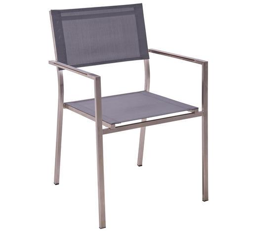 STAPELSESSEL - Edelstahlfarben/Grau, Design, Kunststoff/Textil (56/85/56cm) - Amatio