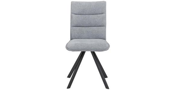 STUHL in Metall, Textil Blau, Grau, Schwarz  - Blau/Schwarz, Design, Textil/Metall (47,5/92/59cm) - Cantus