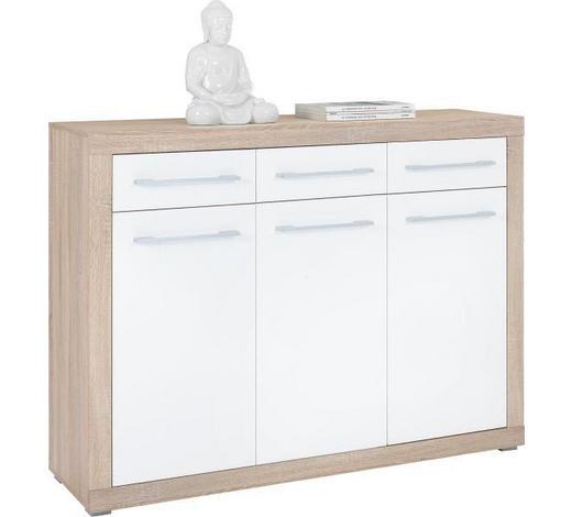 KOMODA   137/103/40 cm   bijela, hrast Sonoma  - bijela/boje srebra, Design, drvni materijal/plastika (137/103/40cm) - Xora