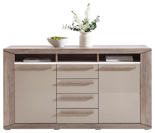 SIDEBOARD Hochglanz, lackiert Eichefarben, Grau - Eichefarben/Silberfarben, Design, Holzwerkstoff/Metall (159/88/44cm) - Ti`me