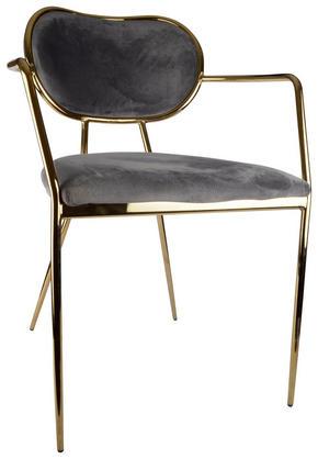 STOL - grå/guldfärgad, Design, metall/textil (54/76/67cm)