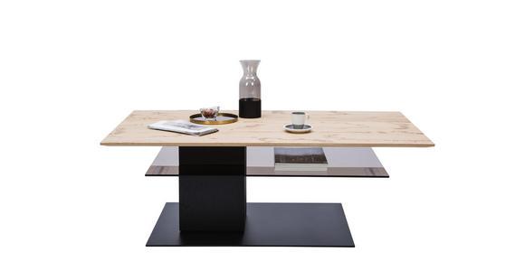 COUCHTISCH in Glas, Holz, Metall 125/75/44 cm - Eichefarben/Anthrazit, KONVENTIONELL, Glas/Holz (125/75/44cm) - Valnatura