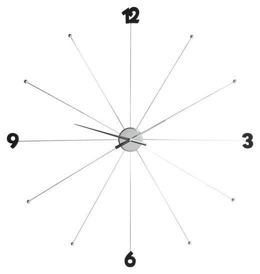 WANDUHR  Schwarz, Chromfarben - Chromfarben/Schwarz, Basics, Kunststoff/Metall (100/100/6cm) - Kare-Design