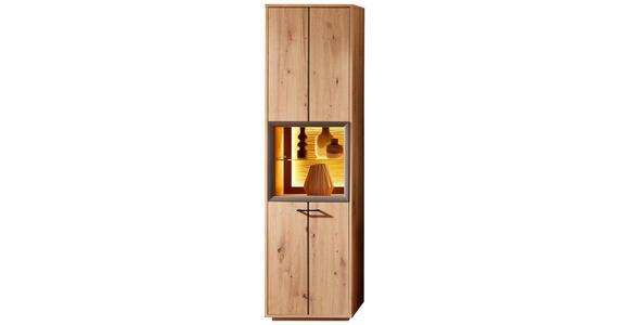 VITRINE Braun, Eichefarben  - Eichefarben/Braun, KONVENTIONELL, Glas/Holzwerkstoff (55/201/40cm) - Cantus