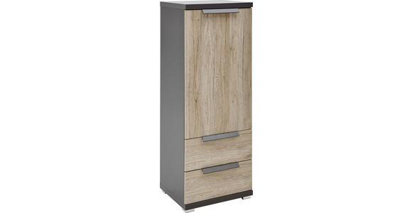 KOMMODE Eichefarben, Graphitfarben - Eichefarben/Graphitfarben, KONVENTIONELL, Holzwerkstoff/Kunststoff (48/129/42cm) - Voleo