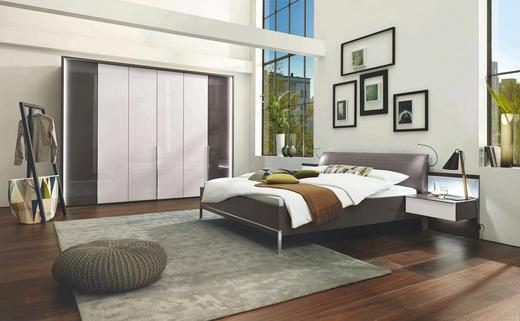 SCHLAFZIMMER Braun, Weiß - Braun/Weiß, Design, Glas/Textil (180/200cm) - Musterring