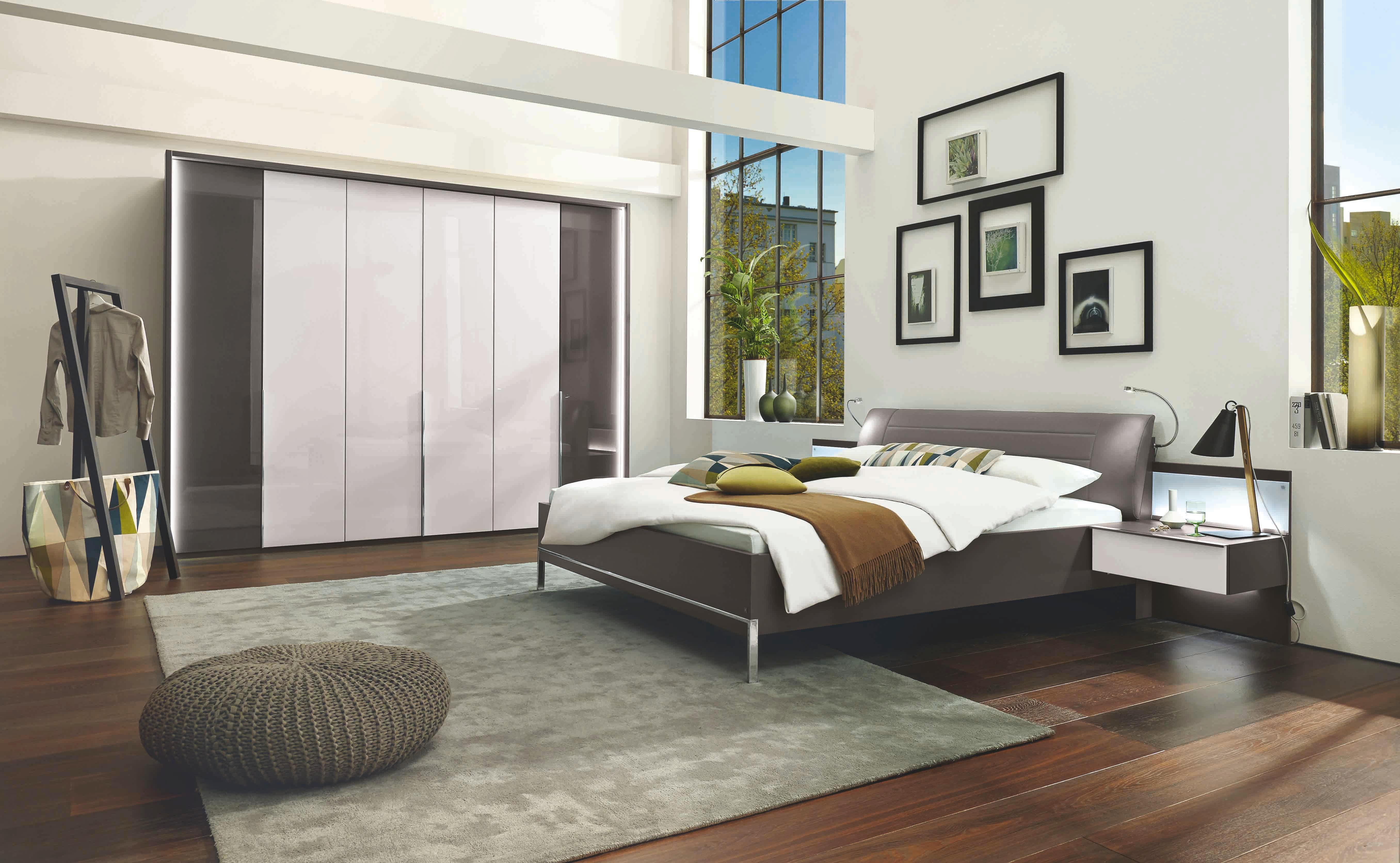 SCHLAFZIMMER Braun, Weiß   Braun/Weiß, Design, Glas/Textil (180