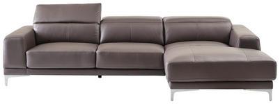 WOHNLANDSCHAFT in Leder, Metall, Textil Chromfarben, Dunkelbraun - Chromfarben/Dunkelbraun, Design, Leder/Textil (294/169cm) - Xora