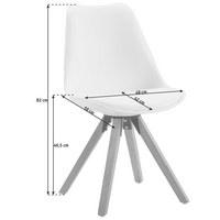STUHL Lederlook Eiche massiv Grau, Eichefarben  - Eichefarben/Grau, Design, Leder/Holz (48/82/56cm) - Carryhome
