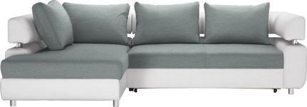 WOHNLANDSCHAFT in Textil Weiß, Mintgrün  - Chromfarben/Weiß, Design, Kunststoff/Textil (190/270cm) - Carryhome