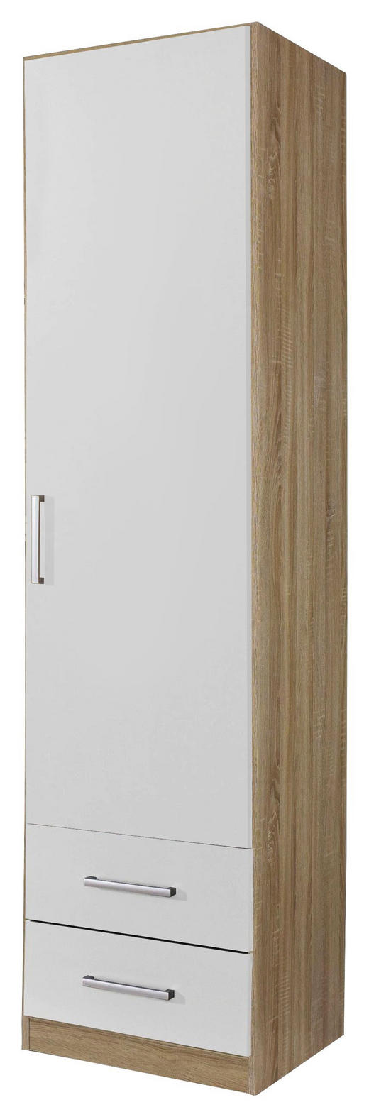 DREHTÜRENSCHRANK 1-türig Eichefarben, Weiß - Eichefarben/Silberfarben, Design, Holzwerkstoff/Kunststoff (47/197/54cm) - Carryhome