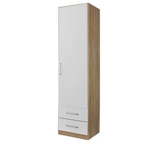 DREHTÜRENSCHRANK in Weiß, Eichefarben - Eichefarben/Silberfarben, Design, Holzwerkstoff/Kunststoff (47/197/54cm) - Carryhome