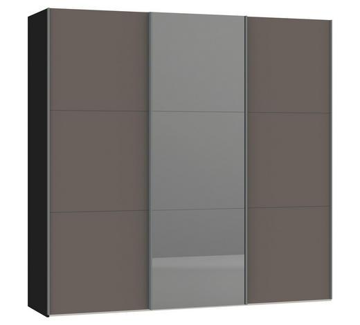 SCHWEBETÜRENSCHRANK in Grau, Schwarz - Silberfarben/Schwarz, Design, Glas/Holzwerkstoff (227,6/220/65cm) - Jutzler