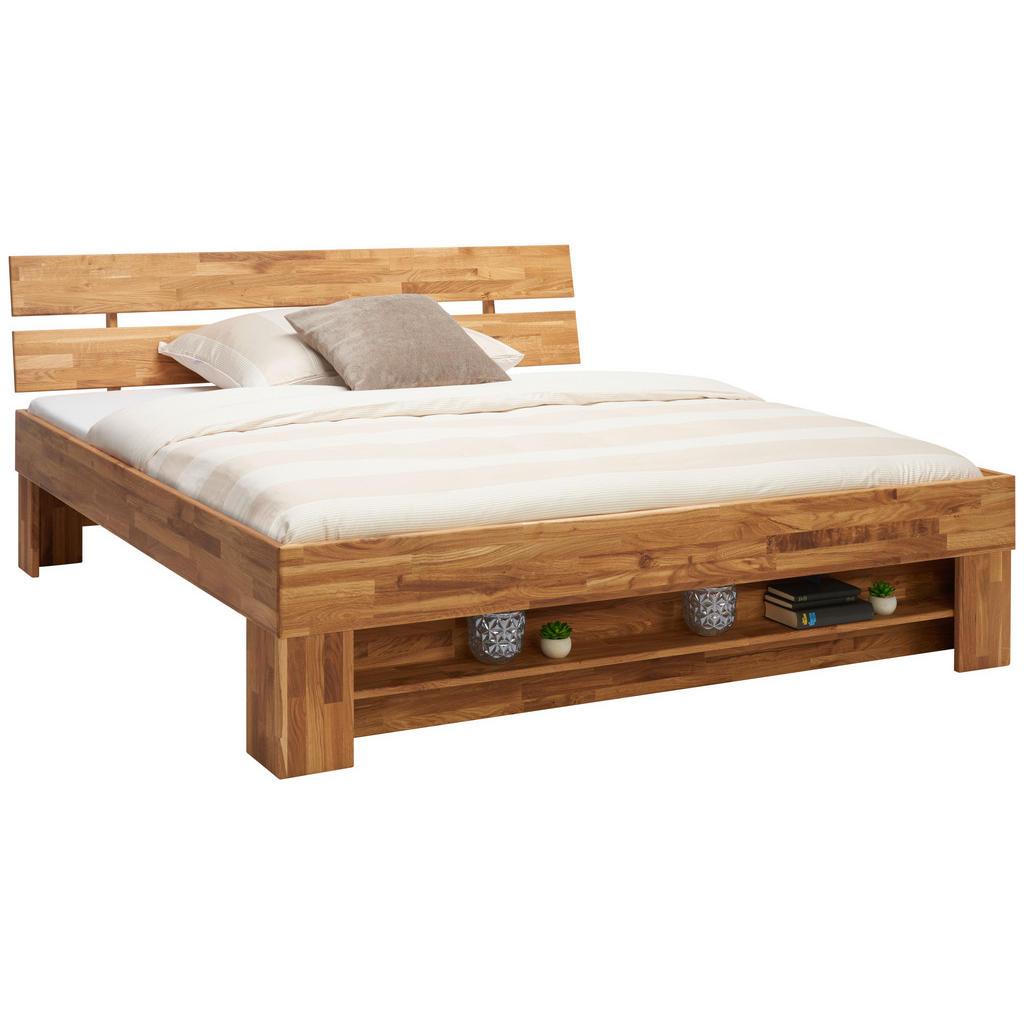 Image of Carryhome Bett 180/200 cm in eichefarben , Sarah , Holz , Wildeiche , massiv , 180 cm , geölt,Echtholz , 002730001601