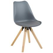 STUHL Lederlook Grau - Eichefarben/Grau, MODERN, Holz/Kunststoff (48/82/56cm) - CARRYHOME