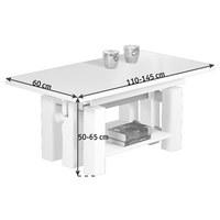 COUCHTISCH in Weiß - Weiß, KONVENTIONELL, Holzwerkstoff (110-145/60/50-65cm) - Carryhome