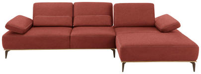 WOHNLANDSCHAFT Rot Mikrofaser  - Beige/Rot, Design, Textil/Metall (298/178cm) - Valnatura