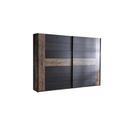 SCHWEBETÜRENSCHRANK 2-türig Schwarz, Eichefarben  - Eichefarben/Schwarz, Design, Holzwerkstoff (269,9/209,7/61,2cm) - Carryhome