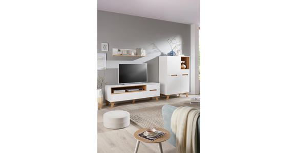 TV-ELEMENT 153/54,5/41 cm - Eichefarben/Weiß, Design, Holz/Holzwerkstoff (153/54,5/41cm) - Hom`in