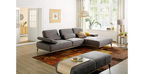 WOHNLANDSCHAFT Grau Flachgewebe  - Beige/Bronzefarben, Design, Textil/Metall (298/178cm) - Valnatura