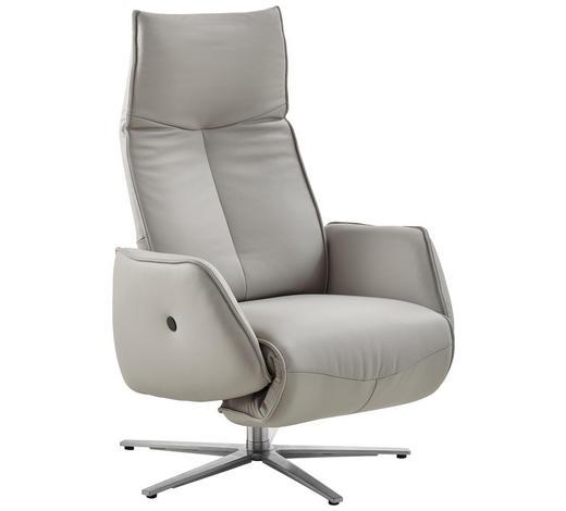 RELAKS FOTELJA - boje oplemenjenog čelika/svijetlo siva, Design, koža (71/114/84cm) - Ambiente
