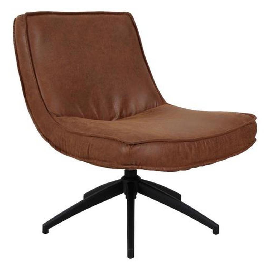 Mid.you Sessel Kombination Echtleder/Stoff Braun