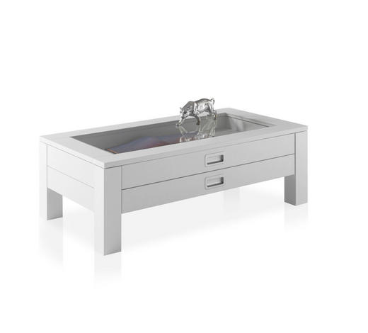 COUCHTISCH Weiß  - Weiß, KONVENTIONELL, Glas (110/60/38,5cm) - Carryhome