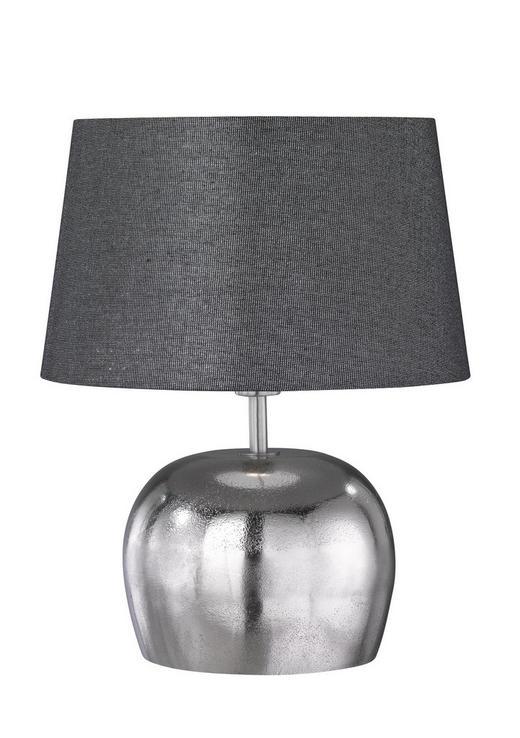 TISCHLEUCHTE - Anthrazit/Silberfarben, Design, Textil/Metall (38cm)