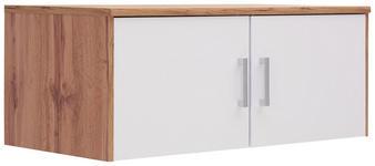 AUFSATZSCHRANK in Weiß, Eichefarben  - Eichefarben/Silberfarben, KONVENTIONELL, Holzwerkstoff/Kunststoff (106/43/54cm) - Xora