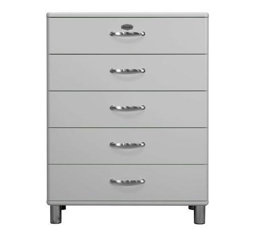KOMMODE lackiert, Melamin Silberfarben  - Silberfarben/Nickelfarben, Design, Metall (86/111/41cm) - Carryhome