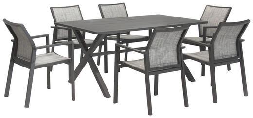 GARTENGARNITUR Aluminium - Grau, Design, Textil/Metall - Amatio