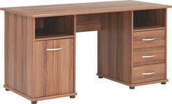SCHREIBTISCH - Nussbaumfarben/Alufarben, KONVENTIONELL, Holzwerkstoff/Kunststoff (148/75/67cm) - Cantus