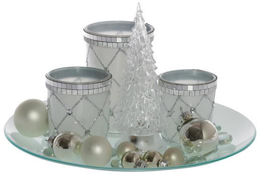 Teelichthalter mit Deko 5-teilig - Silberfarben, Kunststoff/Metall (20/12cm)