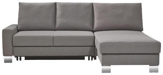 ECKSCHLAFSOFA Grau - Chromfarben/Grau, Design, Textil/Metall (220/90/180cm) - Bali