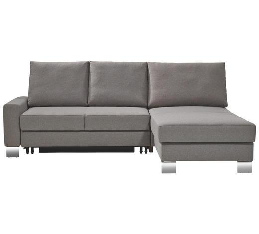 ECKSCHLAFSOFA in Textil Grau - Chromfarben/Grau, Design, Textil/Metall (220/180cm) - Bali