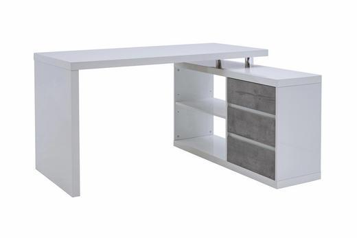 ECKSCHREIBTISCH Grau, Weiß - Weiß/Grau, Design (140/75/114,5cm) - Voleo