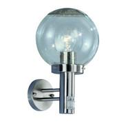 Außenleuchte mit Sensor - Edelstahlfarben, KONVENTIONELL, Glas/Metall (24/35cm)