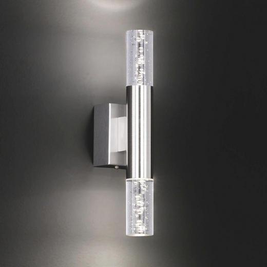 WANDLEUCHTE - Klar/Nickelfarben, KONVENTIONELL, Kunststoff/Metall (30cm)