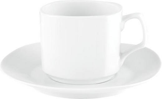 KAFFEETASSE MIT UNTERTASSE - Weiß, Basics, Keramik - BOXXX