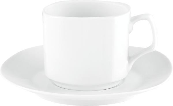 ŠALICA ZA KAVU S TANJURIĆEM - bijela, Konvencionalno, keramika - BOXXX