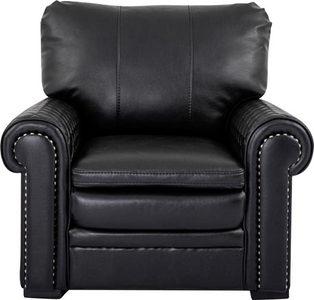FÅTÖLJ - svart, Klassisk, läder/trä (108/94/97cm)