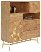 VISOKA KOMODA, akacija, zlata  - zlata/akacija, Trendi, kovina/leseni material (110/126/40cm) - Landscape