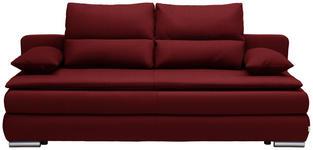 SCHLAFSOFA Webstoff Rot - Rot/Silberfarben, KONVENTIONELL, Kunststoff/Textil (207/94/90cm) - Venda
