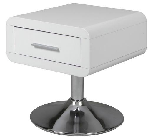 NACHTKÄSTCHEN lackiert, Glanz Weiß  - Chromfarben/Weiß, Design, Metall (40/45/40cm) - Carryhome