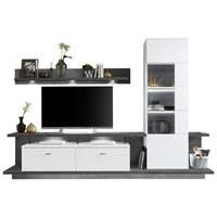 OBÝVACÍ STĚNA, barvy grafitu, bílá - bílá/šedá, Design, kov/dřevěný materiál (291/199/51cm) - Stylife