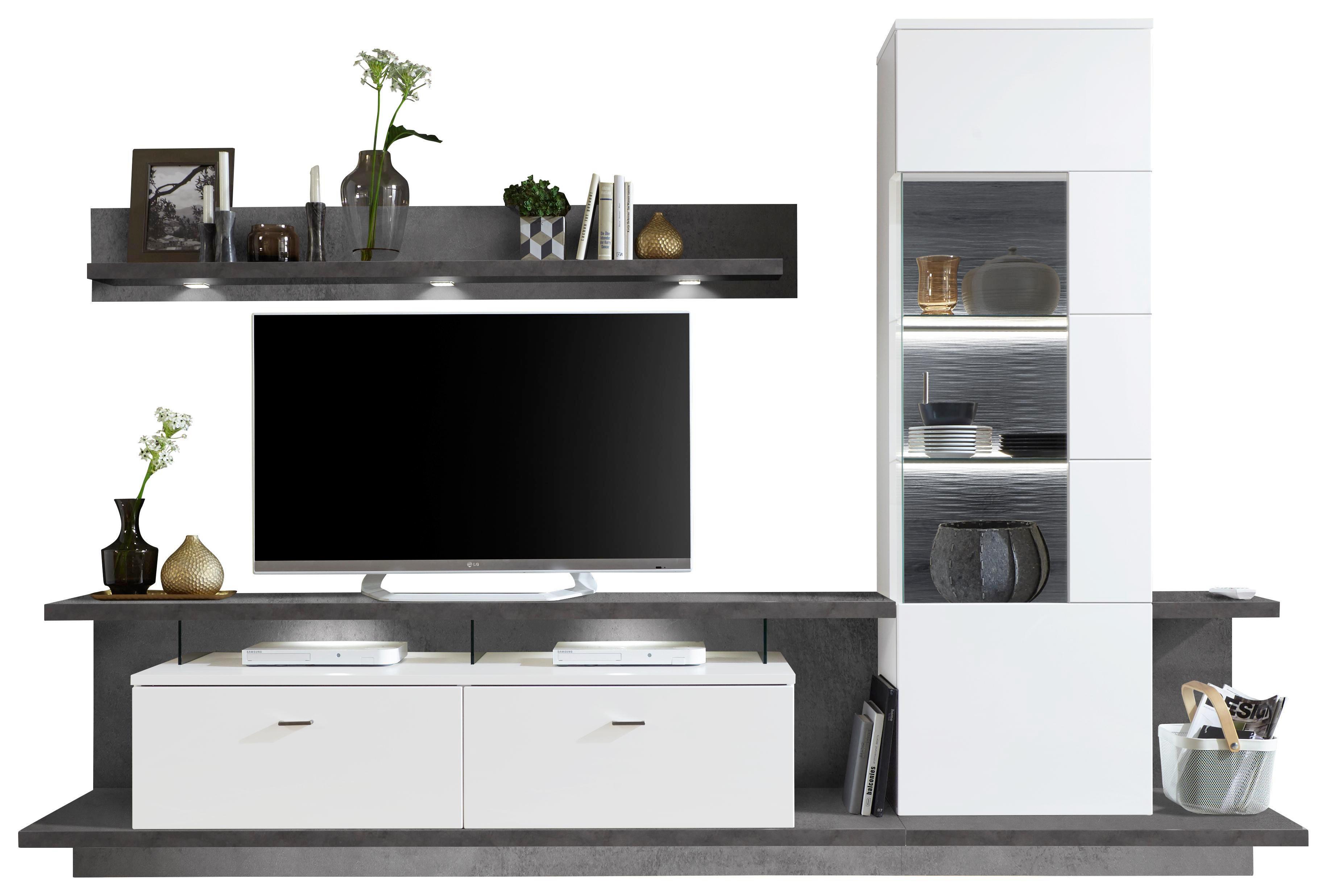 Gut WOHNWAND In Graphitfarben, Weiß   Graphitfarben/Weiß, Design,  Glas/Holzwerkstoff (