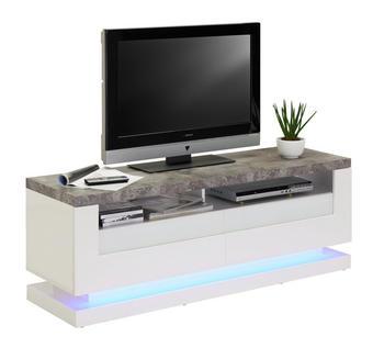 KOMODA LOWBOARD, bílá, šedá - bílá/šedá, Design, dřevěný materiál/sklo (140/50/40cm) - Carryhome