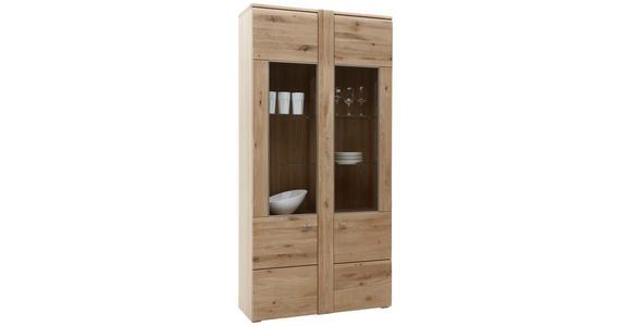 VITRINE Eiche furniert, massiv Eichefarben - Eichefarben/Alufarben, KONVENTIONELL, Glas/Holz (101/205,1/37,7cm) - Voleo