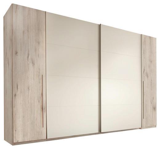 KLEIDERSCHRANK 4-türig Eichefarben, Weiß - Eichefarben/Alufarben, Design, Holzwerkstoff/Kunststoff (315/225/61cm) - Carryhome